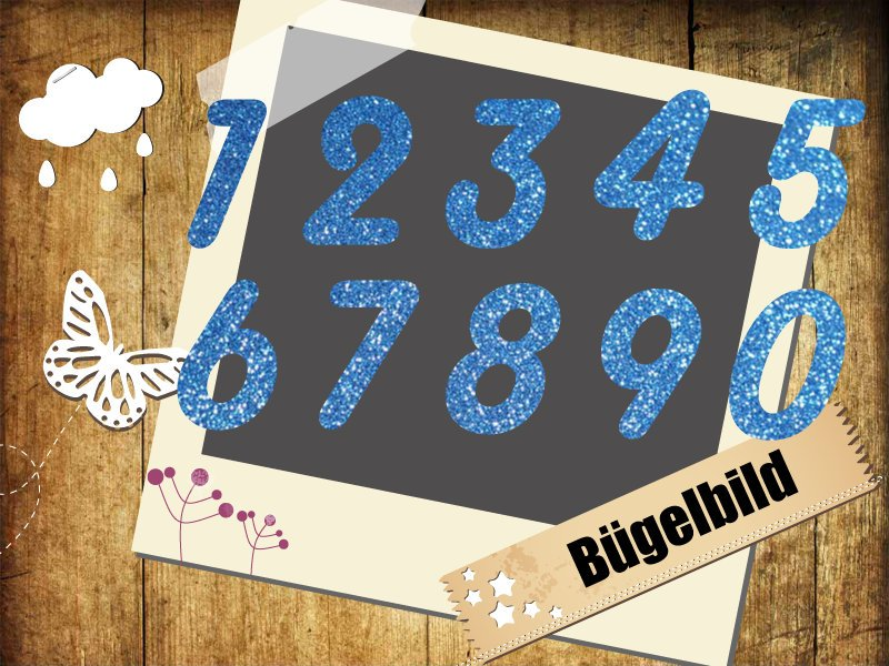 Flock/ Glitzer Buegelbild 5 Zahlen