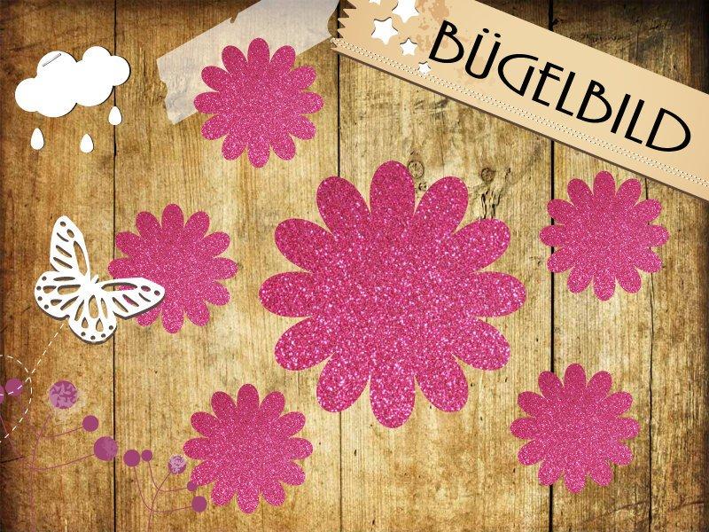 Glitzer/Flock Bügelbild Blüten