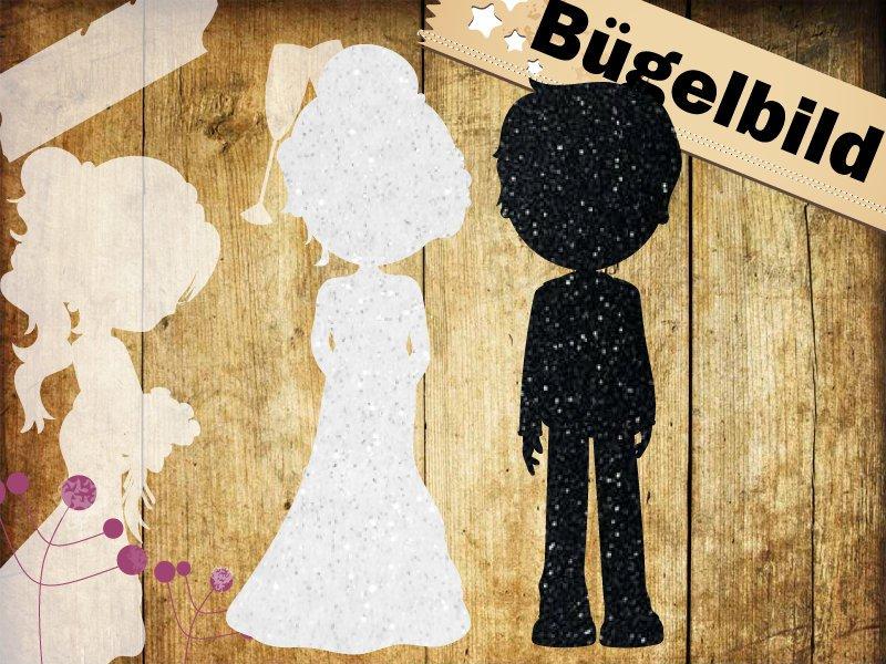 Glitzer/ Velour Buegelbild Hochzeitspaar