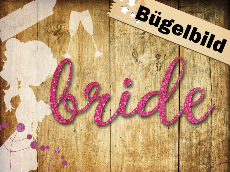 Glitzer/ Velour Buegelbild bride