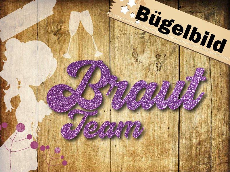 Glitzer/ Velour Bügelbild Braut Team - 1