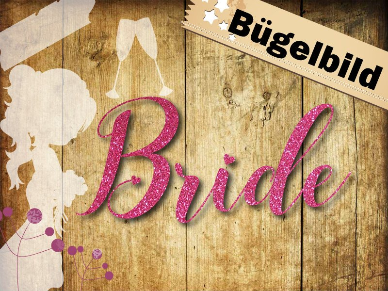 Glitzer/ Velour Buegelbild Bride Herzen