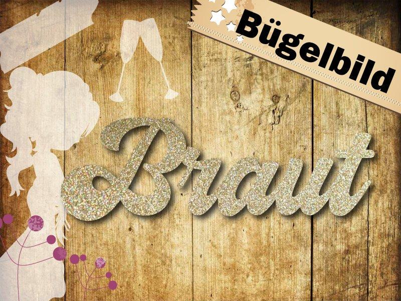 Glitzer/ Velour Buegelbild Braut