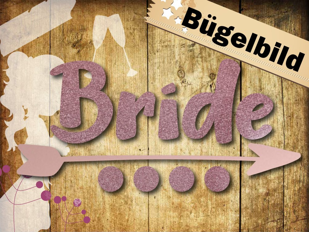 Glitzer/ Velour Bügelbild Bride mit Pfeil - 1