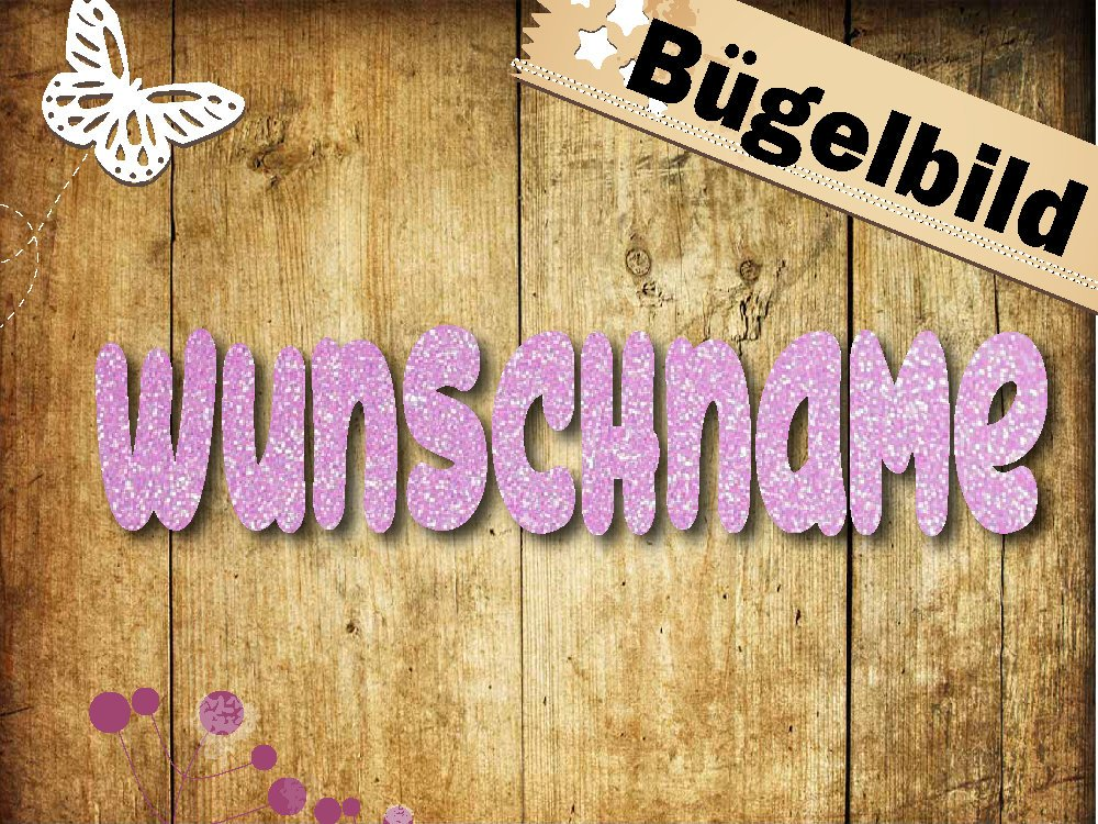 Glitzer/Flock Bügelbild Name Wunschname