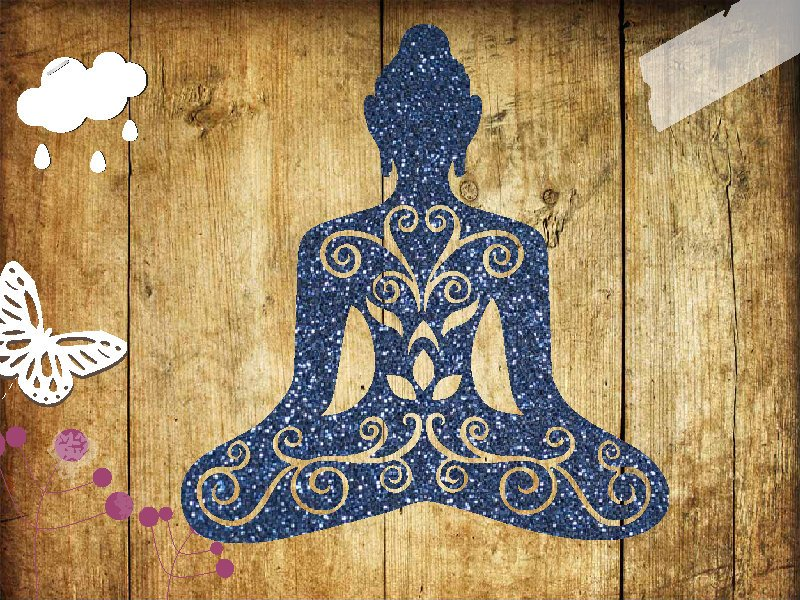 Glitzer Bügelbild Buddha Yoga