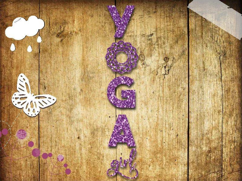 Glitzer Bügelbild Yoga girl Namaste