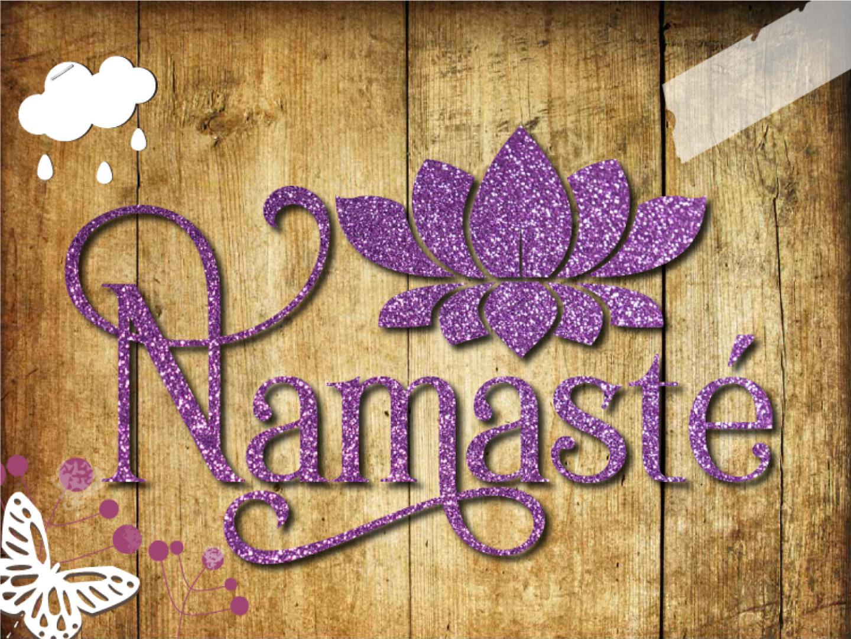 Glitzer Buegelbild Namaste Yoga
