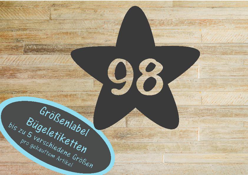 25 Größenlabel Größenetiketten Stern