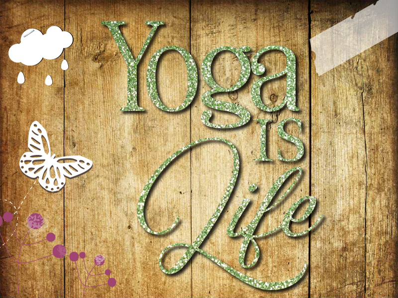 Glitzer Buegelbild Yoga is life Namaste Handstand