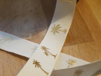 Baumwollband Dekoband Palmen 15mm gold