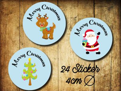 Sticker/ Aufkleber Merry Christmas 3 Motive hellblau - Christmassticker 24 Stueck 4cm