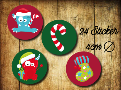 Sticker/ Aufkleber Weihnachtsmonster - Christmassticker 24 Stueck 4cm