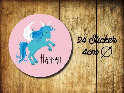 Sticker/ Aufkleber Einhorn Name - 24Stueck 40mm Geburtstag Einschulung Schule