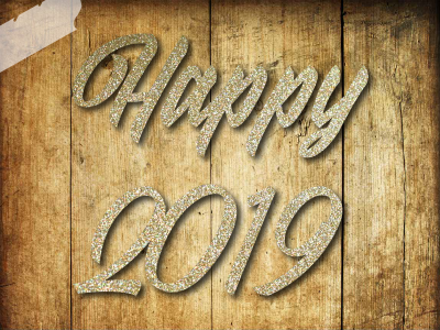 Glitzer Buegelbild Happy 2019