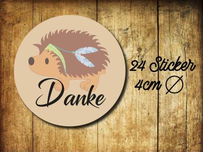 Sticker/ Aufkleber Danke Igel Hochzeit - 24 Stueck 4cm