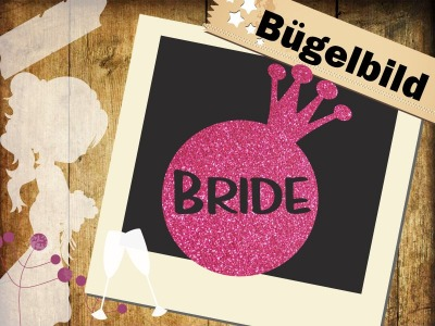 Glitzer Bügelbild Bride Krone