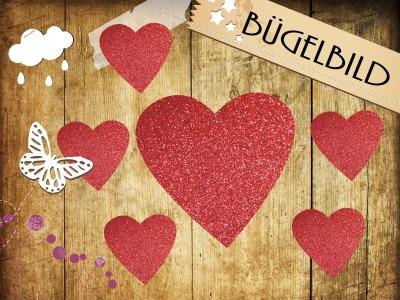 Glitzer Bügelbild 6 Herzen
