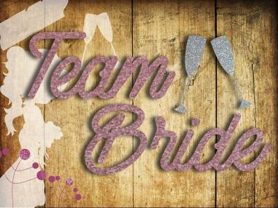 Glitzer Buegelbild Team Bride oder Bride mit Sektglaesern und Braut