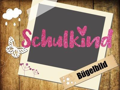 Glitzer/ Velour Buegelbild Schulkind