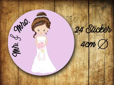 Sticker/ Aufkleber Mr. & Mrs. Hochzeit - 24 Stück 4cm