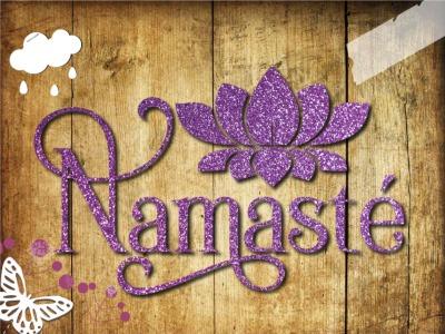 Glitzer Bügelbild Namaste Yoga