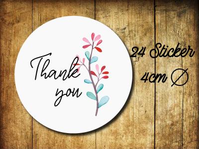Sticker/ Aufkleber Thank you Hochzeit - 24 Stueck 4cm