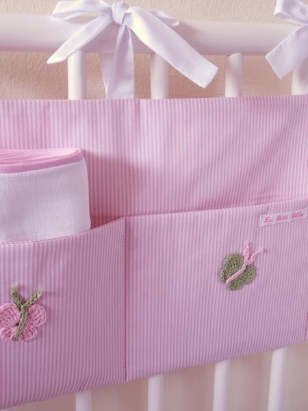 Aufbewahrungstasche Betttasche rosa weiß mit Schmetterlingen