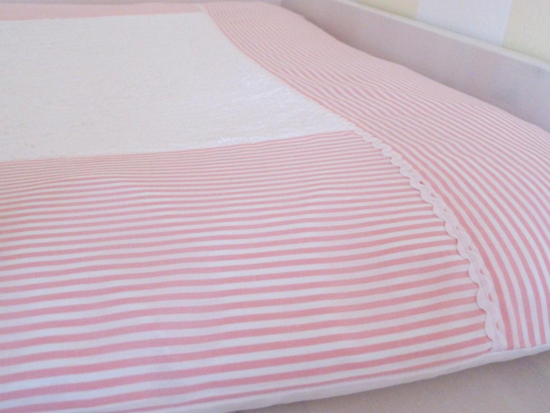 Wickelauflagenbezug Streifen rosa