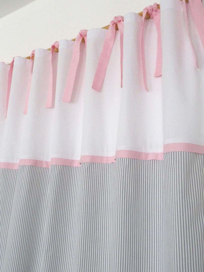 2 vorh nge grau rosa f r kinderzimmer klassisch sch n. Black Bedroom Furniture Sets. Home Design Ideas
