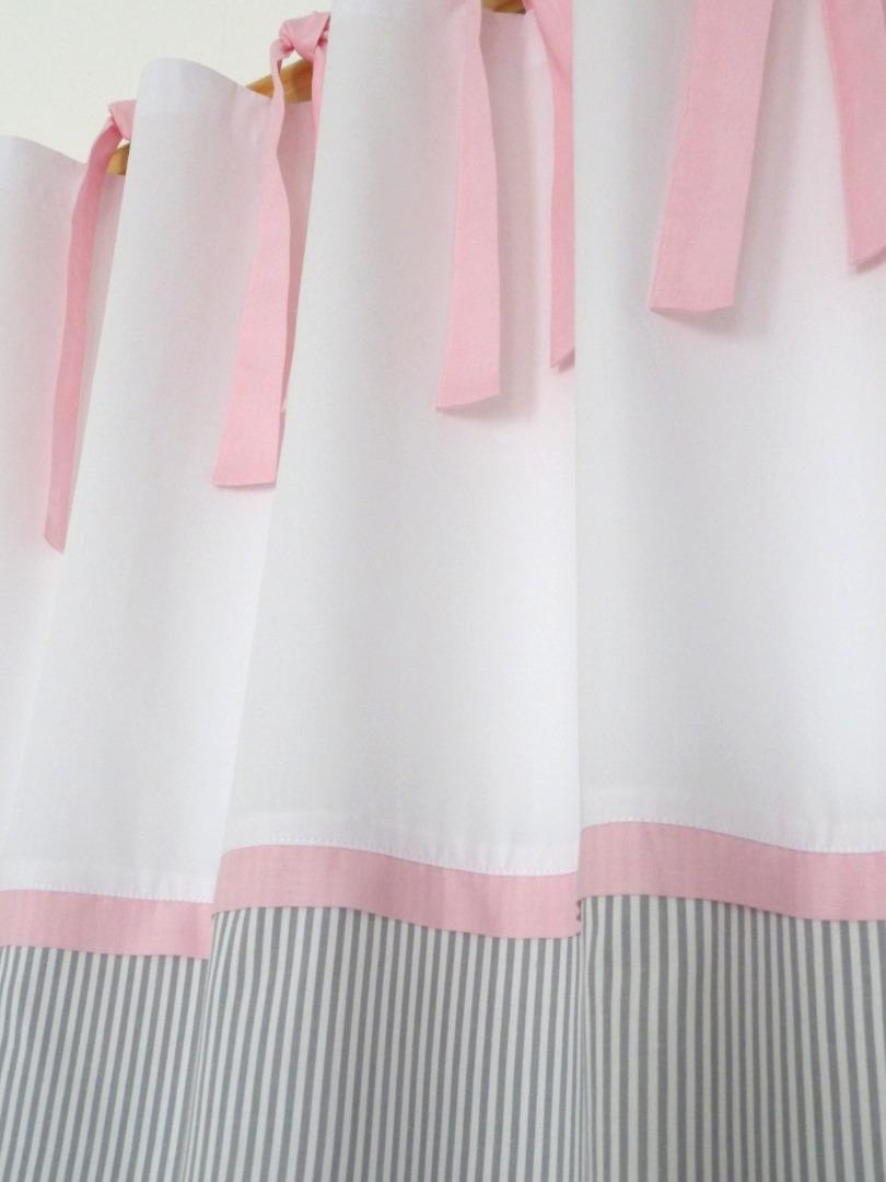 2 Vorhänge grau rosa für Kinderzimmer / Klassisch schön.