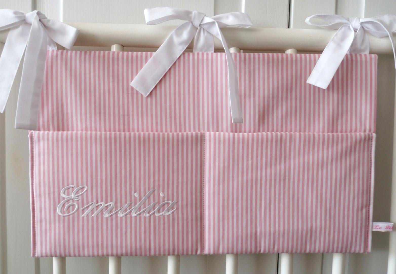 Aufbewahrungstasche Betttasche rosa weiß 3