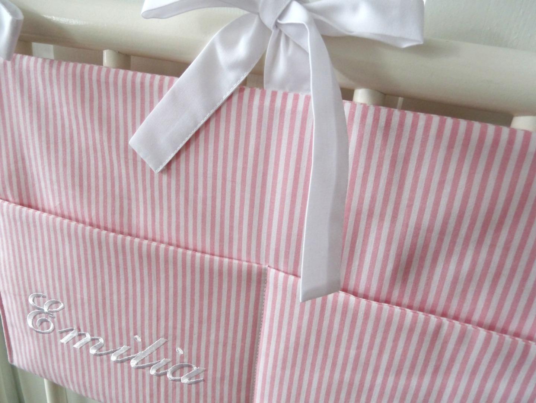 Aufbewahrungstasche Betttasche rosa weiß