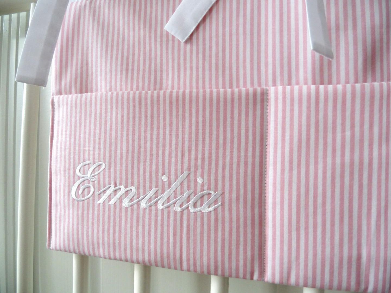 Aufbewahrungstasche Betttasche rosa weiß 2