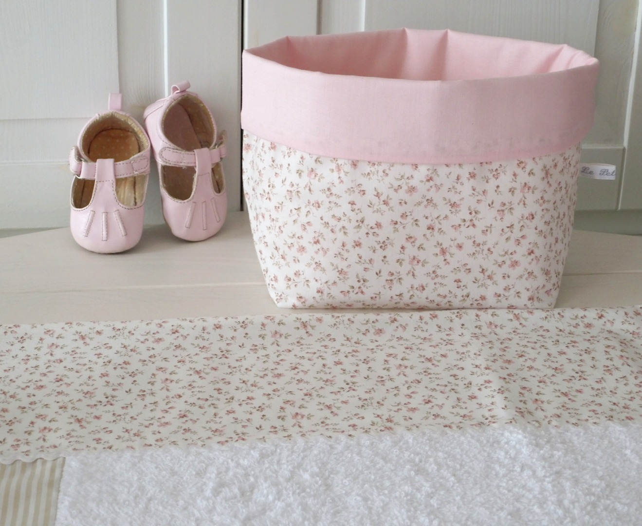 Wickelauflagenbezug Millefleurs beige rosa 3