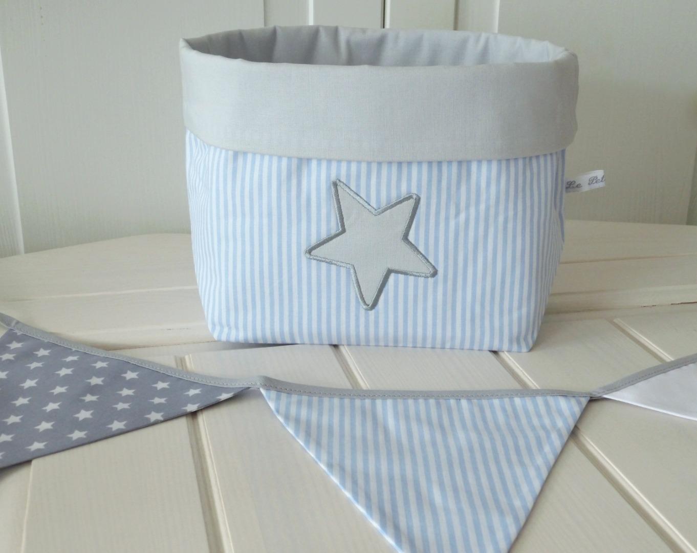 Utensilo Stoffkörbchen grau blau mit Stern
