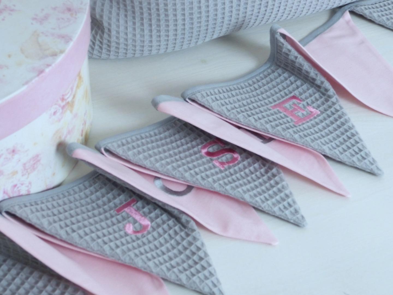 Utensilo Stoffkörbchen grau rosa Waffelpique 5