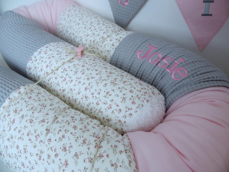 Utensilo Stoffkörbchen grau rosa Waffelpique 3