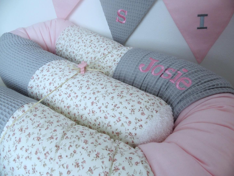 Bettschlange grau rosa Waffelpique & Millefleur
