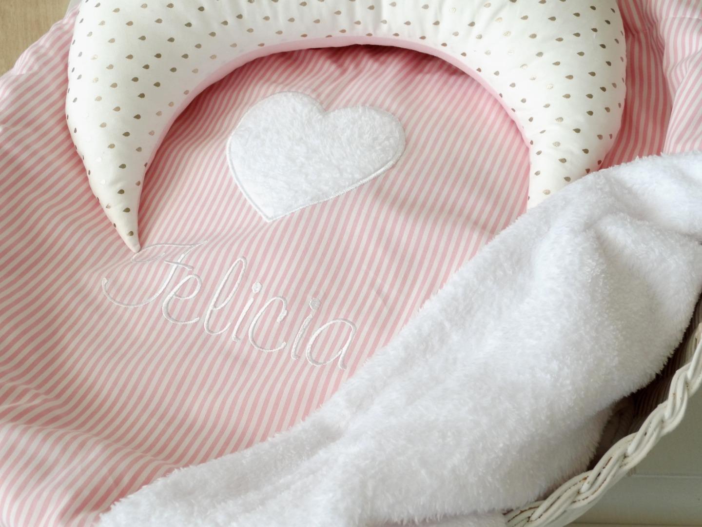 Mondkissen für Kinderzimmer rosa & gold