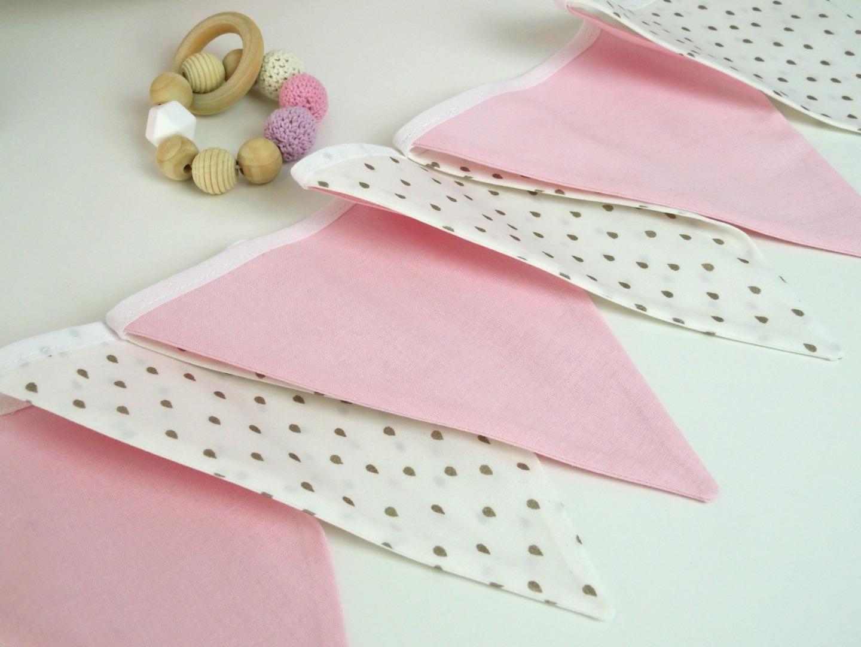 Wimpelkette rosa gold mit zarten Trofpen