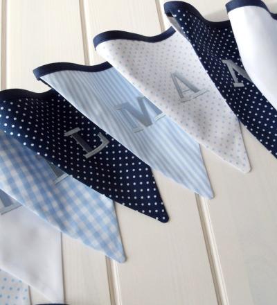 Wimpelkette Vichy Karo blau marine Auf