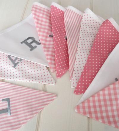 Wimpelkette rosa grau Auf Wunsch mit