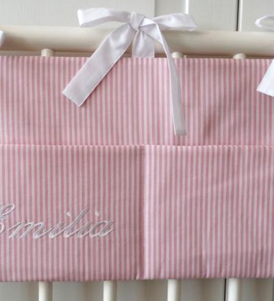 Aufbewahrungstasche Betttasche rosa weiß Auf Wunsch