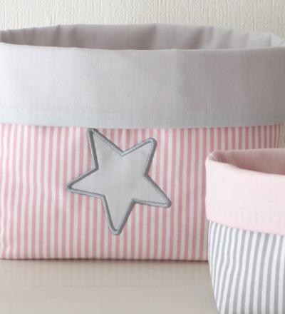 Utensilo Stoffkörbchen mit Stern rosa grau