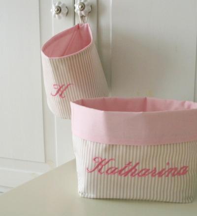 Utensilo Stoffkörbchen Streifen beige rosa Auf