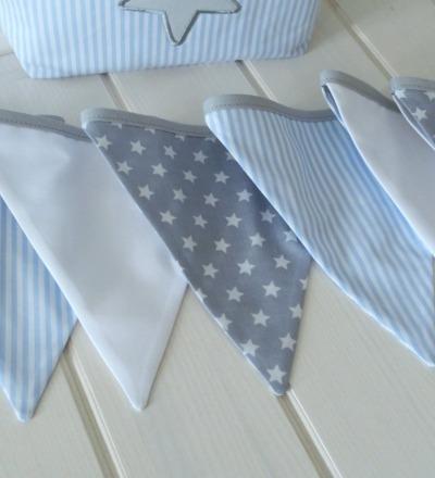 Wimpelkette grau blau mit Sternen Streifen