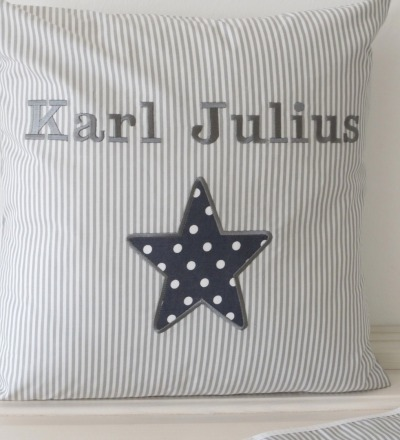 Kissen mit Namen grau Personalisierte Geschenke