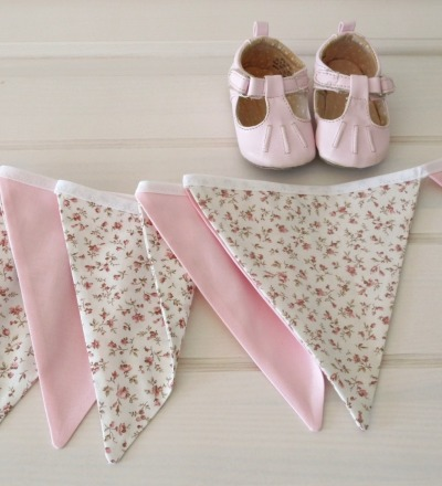 Wimpelkette Millefleurs beige rosa Auf Wunsch