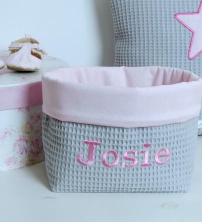 Utensilo Stoffkörbchen grau rosa Waffelpique Baby